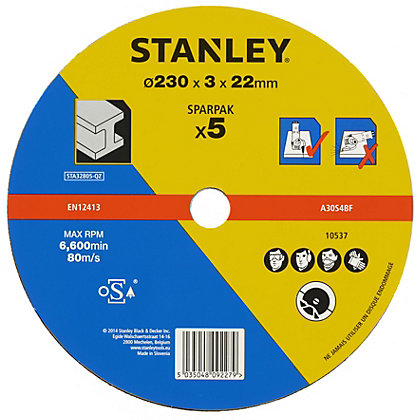 Image for Stanley 230mm Metal Cutting Disk Pack - STA32805-QZ from StoreName