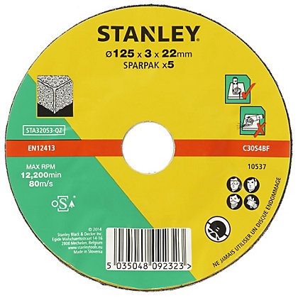 Image for Stanley 125mm Stone Cutting Disc Pack - STA32053-QZ from StoreName