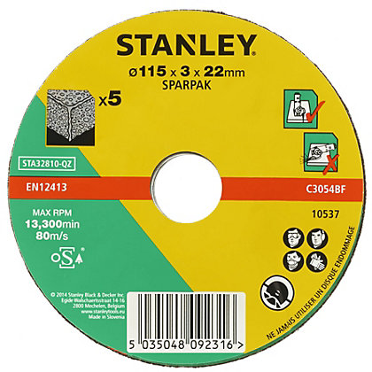Image for Stanley 115mm Stone Cutting Disc Pack - STA32810-QZ from StoreName