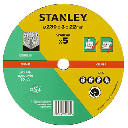 Image for Stanley 230mm Stone Cutting Disk Pack - STA32815-QZ from StoreName