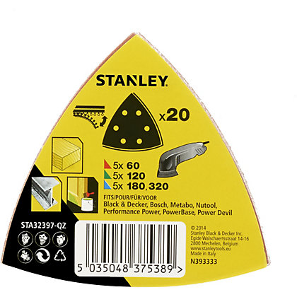 Image for Stanley Delta Head Sanding Sheet Mixed Pack of 20 - STA32397-QZ from StoreName