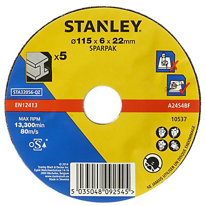 Image for Stanley 115mm Metal Grinding Disc Pack - STA32056-QZ from StoreName