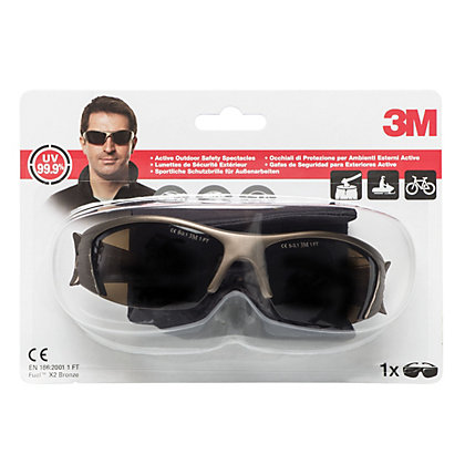 Image for 3M Fuel X2 Bronze C1 Clear Impact Protection Fashionable Safety Spectacles from StoreName