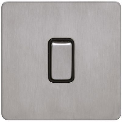 Image of Schneider Electric 16AX single intermediate switch - stainless steel, black interior
