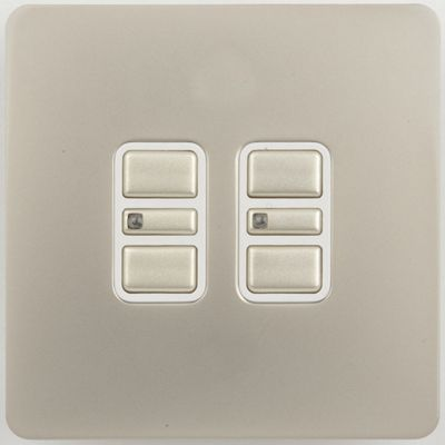 Image of Schneider Electric 200W/VA double 2 way touch dimmer - pearl nickel