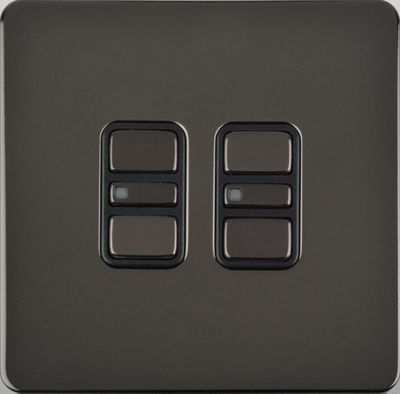 Image of Schneider Electric 200W/VA double 2 way touch dimmer - black nickel
