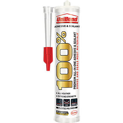 Image for UniBond 100% Adhesive and Sealant Cartridge Translucent - 280ml from StoreName