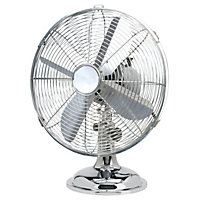Oscillating 12 Inch Desk Fan - Chrome
