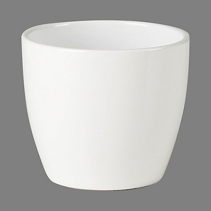 Image for Basic Ceramic Plant Pot in White - 19cm from StoreName