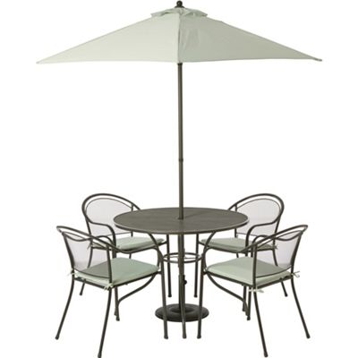 Image for Ontario Steel 4 Seater Garden Furniture Set - Grey from StoreName