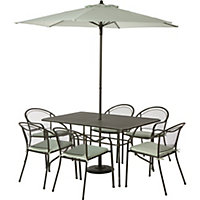 Ontario Metal 6 Seater Garden Furniture Set