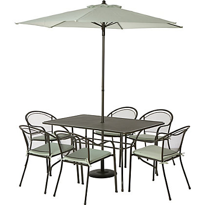 Image for Ontario Steel 6 Seater Garden Furniture Set - Grey from StoreName