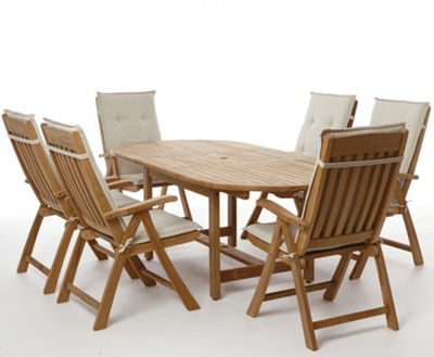 Greenwich 6 seater teak garden furniture set for Outdoor furniture homebase