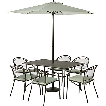 Ontario 6 Seater Metal Garden Furniture Set Home Delivery