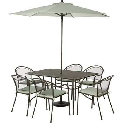 Ontario 6 Seater Metal Garden Furniture Set - Home Delivery