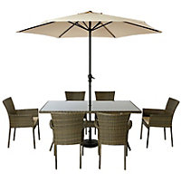 Mali 6 Seater Stacking Rattan Effect Garden Furniture Set - Home Delivery