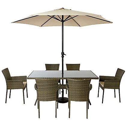 Image for Mali 6 Seater Stacking Rattan Effect Garden Furniture Set - Home Delivery from StoreName