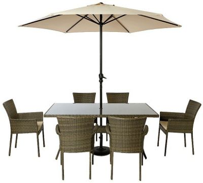 Mali 6 Seater Stacking Rattan Effect Garden Furniture Set Home Delivery £39