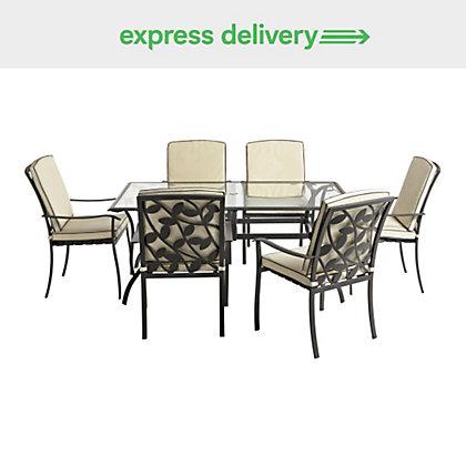 Image for lucca 6 seater dining set express delivery for Outdoor furniture homebase