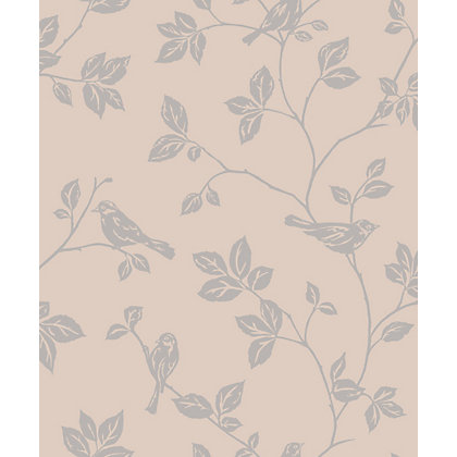 Image for Sparkle Leaf and Birds Wallpaper - Taupe from StoreName
