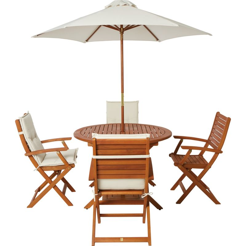 Image Of Peru 4 Seater Wooden Garden Furniture Set With Folding