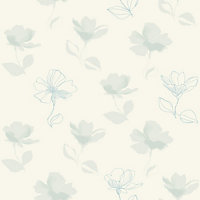 HBV Lilia Rose Wallpaper - Blue