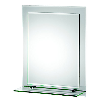 Frosted Edge Rectangular Mirror With Glass Shelf