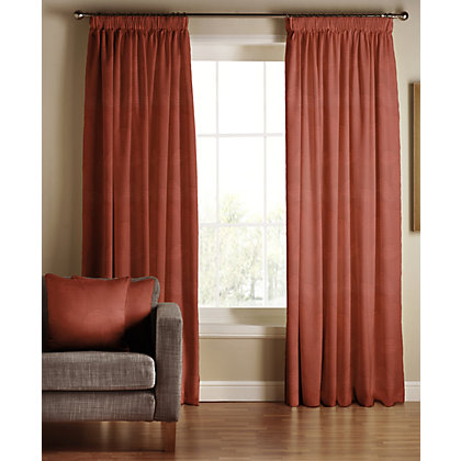 Image for Tru Living Chic Terracotta Lined Curtains - 90 x 90in from StoreName