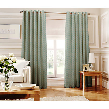 Image for Whiteheads Loretta Teal Lined Curtains - 66 x 72in from StoreName