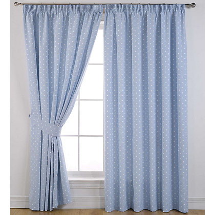 Image for Sundour Dotty Powder Blue Lined Curtains - 46 x 72in from StoreName