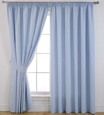 Sundour Dotty Powder Blue Lined Curtains - 66 x 54in