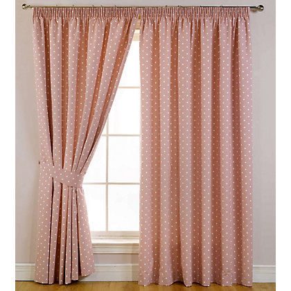 Image for Sundour Dotty Rose Lined Curtains - 46 x 72in from StoreName