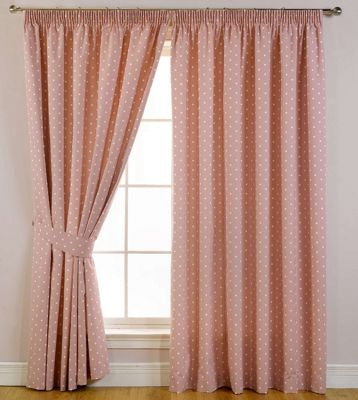 Sundour Dotty Rose Lined Curtains - 66 x 54in