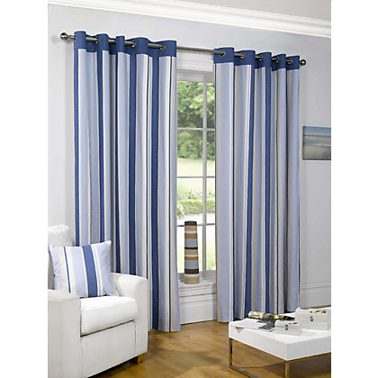 Image for Sundour Padstow Blue Lined Curtains - 46 x 54in from StoreName
