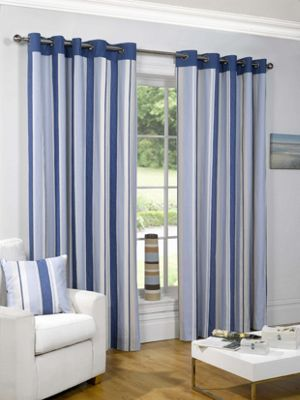 Sundour Padstow Blue Lined Curtains - 90 x 90in