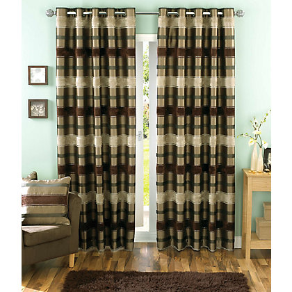 Image for Sundour Portobello Chocolate Lined Curtains - 90 x 54in from StoreName
