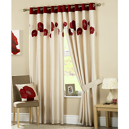 Image for Curtina Danielle Red Lined Curtains - 90 x 54in from StoreName