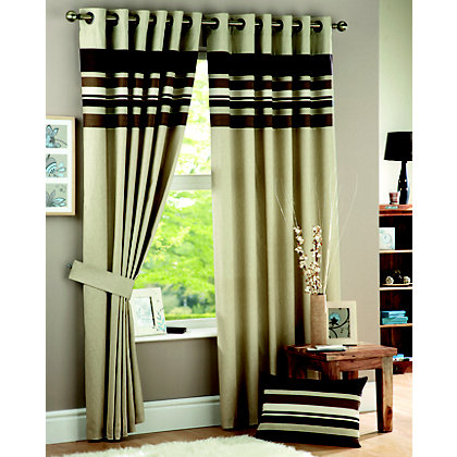 Image for Curtina Harvard Chocolate Lined Curtains - 90 x 90in from StoreName