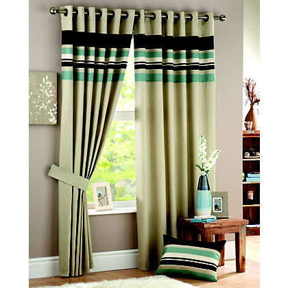 Image for Curtina Harvard Duck Egg Lined Curtains - 66 x 54in from StoreName