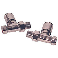 Smooth Head Radiator Valve Set Inline - Chromed Brass - 2 Pack