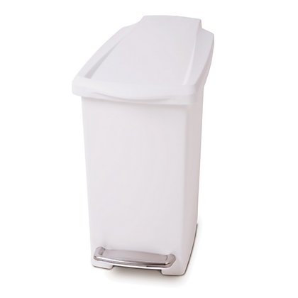 Image for Simplehuman Slim Plastic Pedal Bin - 10L - White from StoreName