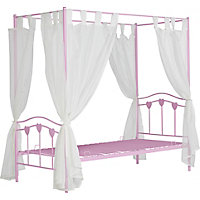 Hearts Single Pink Four Poster Bed Frame