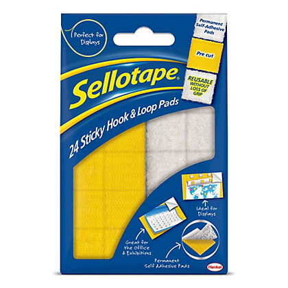 Image for Sellotape Hook and Loop Pads - White and Yellow - 24 x 20mm x 20mm from StoreName