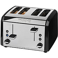 Waring 4 Slice Stainless Steel Toaster - Black.