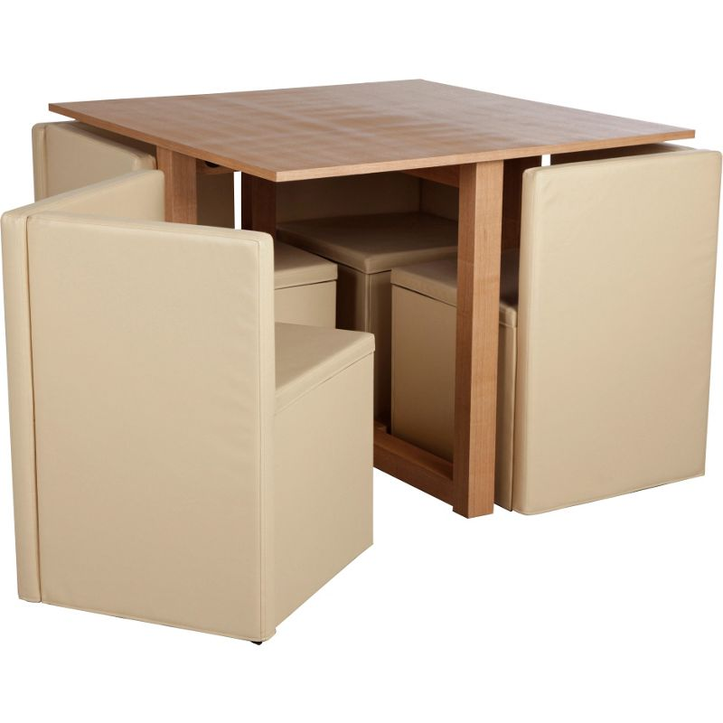 hygena oak space saver dining table and 4 cream chairs