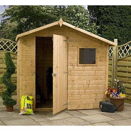 Image for Mercia Natural Timber Offset Shiplap Apex Wooden Shed - 7ft x 5ft from StoreName