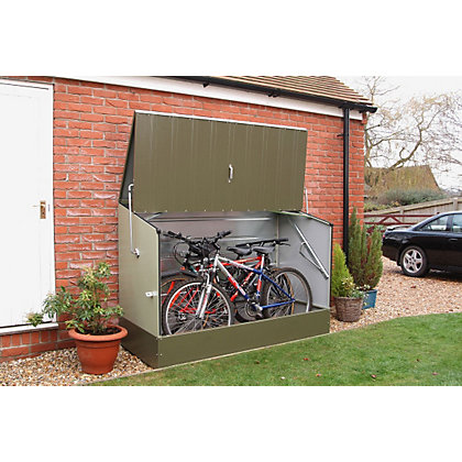 Trimetals bike store green 6ft 5in x 2ft 11in for Garden shed homebase