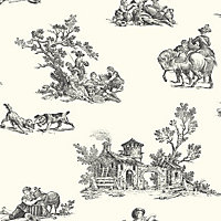 Toile Wallpaper - Black