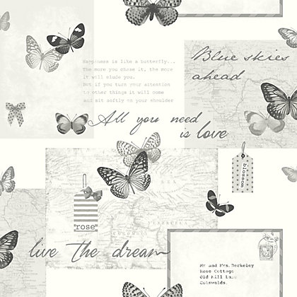 Fine decor delamere blue silver wallpaper - Butterfly wallpaper homebase ...