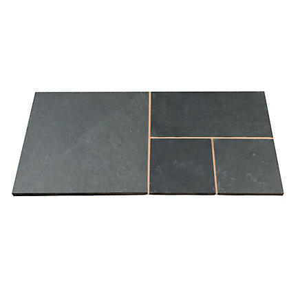 Image for Brett Natural Slate Paving Circle with Corners 2.48m 6.15sq m 73 Pack - Olive Black from StoreName